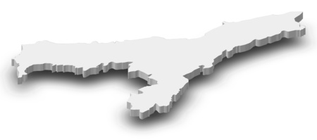 Map of Assam, a province of India, as a gray piece with shadow. Stock Photo
