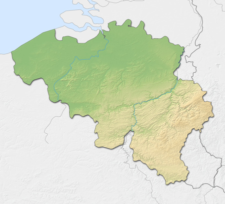 shaded: Relief map of Belgium with shaded relief, nearby countries are in black an white. Stock Photo