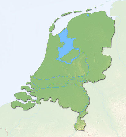 Relief map of Netherlands with shaded relief.