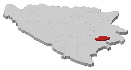 hercegovina: Map of Bosnia and Herzegovina as a gray piece, Bosnian Podrinje is highlighted in red.