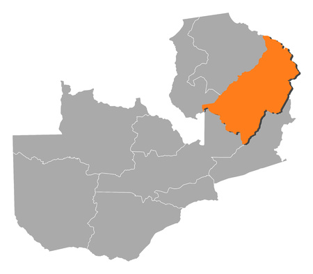 Map of Zambia with the provinces, Muchinga is highlighted by orange.