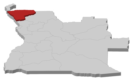 zaire: Map of Angola as a gray piece, Zaire is highlighted in red. Illustration