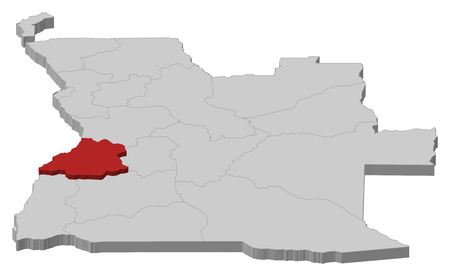 ngola: Map of Angola as a gray piece, Benguela is highlighted in red.