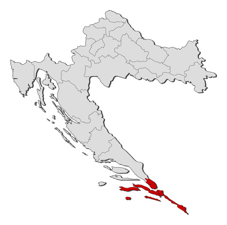 Map of Croatia with the provinces, Dubrovnik-Neretva is highlighted.