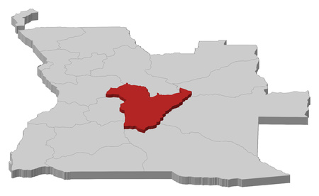 ngola: Map of Angola as a gray piece, Bie is highlighted in red.