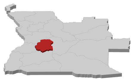 ngola: Map of Angola as a gray piece, Huambo is highlighted in red.