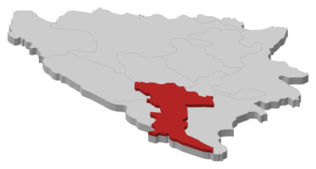 bosna and herzegovina: Map of Bosnia and Herzegovina as a gray piece, Herzegovina-Neretva is highlighted in red.