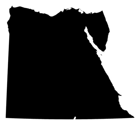 frontiers: Map of Egypt in black.