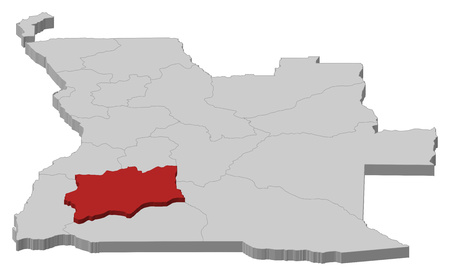 ngola: Map of Angola as a gray piece, Huila is highlighted in red.