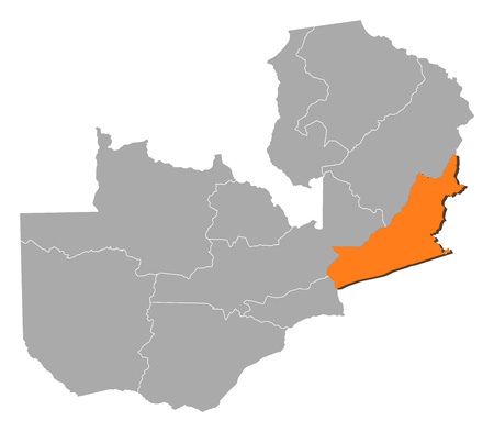 Map of Zambia with the provinces, Eastern is highlighted by orange.