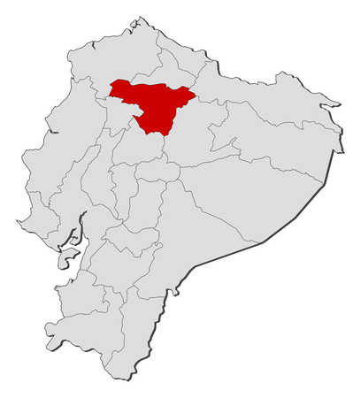 republic of ecuador: Map of Ecuador with the provinces, Pichincha is highlighted.