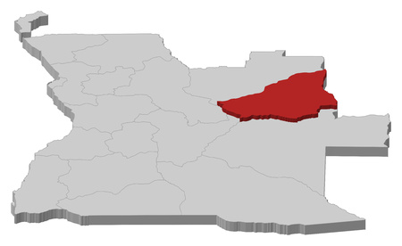 ngola: Map of Angola as a gray piece, Lunda Sul is highlighted in red.