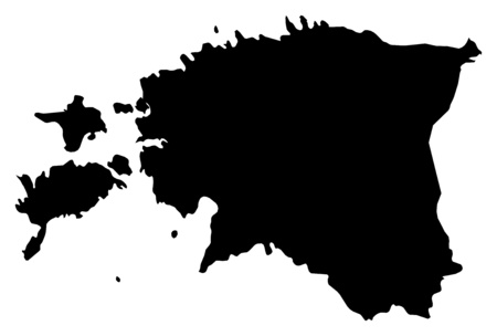 Map of Estonia in black. Illustration