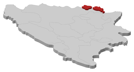 bosna and herzegovina: Map of Bosnia and Herzegovina as a gray piece, Posavina is highlighted in red.