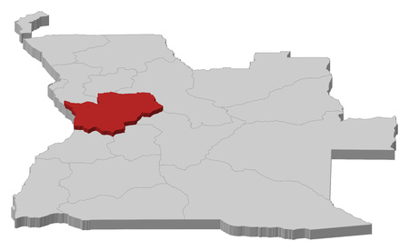 ngola: Map of Angola as a gray piece, Cuanza Sul is highlighted in red.
