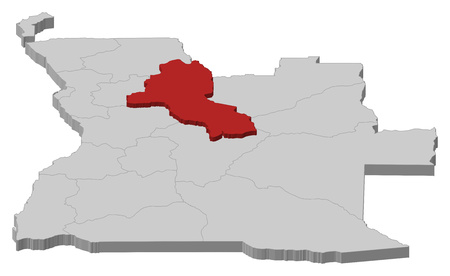 ngola: Map of Angola as a gray piece, Malanje is highlighted in red.