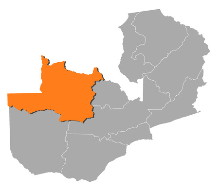 northwestern: Map of Zambia with the provinces, North-Western is highlighted by orange. Illustration