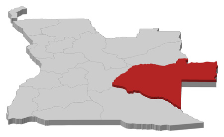 ngola: Map of Angola as a gray piece, Moxico is highlighted in red. Illustration