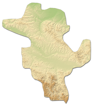 Relief map of Tuzla, a province of Bosnia and Herzegovina, with shaded relief. Stock Photo