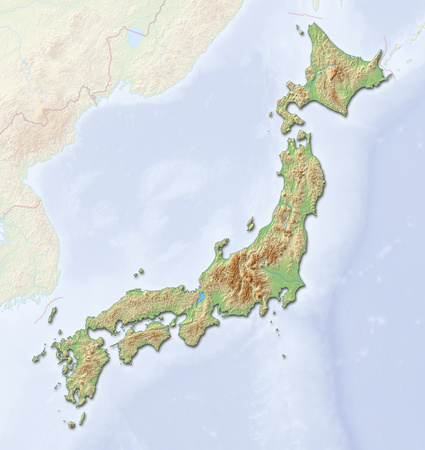 shaded: Relief map of Japan with shaded relief.