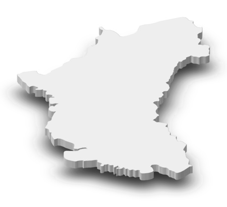 southeastern: Map of Perak Darul Ridzuan, a province of Malaysia, as a gray piece with shadow.