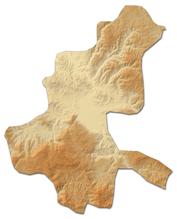 Relief map of Sarajevo, a province of Bosnia and Herzegovina, with shaded relief.