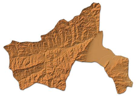 Relief map of Parwan, a province of Afghanistan, with shaded relief.