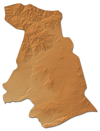 Relief map of Kotayk, a province of Armenia, with shaded relief.