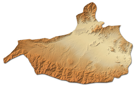 Relief map of Nangarhar, a province of Afghanistan, with shaded relief.