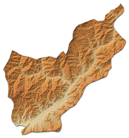 Relief map of Kunar, a province of Afghanistan, with shaded relief.