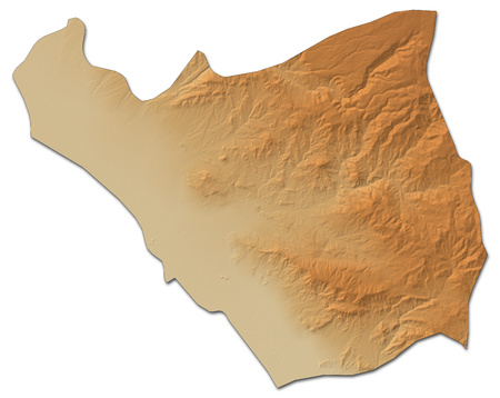 Relief map of Ararat, a province of Armenia, with shaded relief. Stock Photo