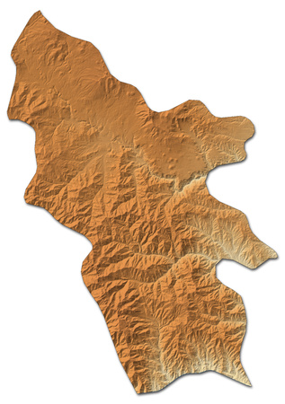 southwestern asia: Relief map of Syunik, a province of Armenia, with shaded relief. Stock Photo