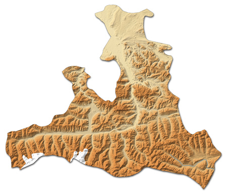 Relief map of Salzburg, a province of Austria, with shaded relief. Stock Photo