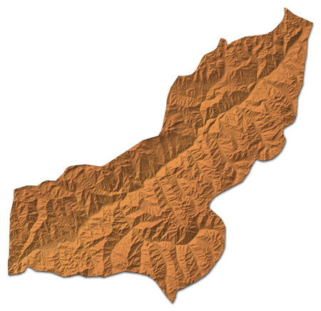 Relief map of Panjshir, a province of Afghanistan, with shaded relief.