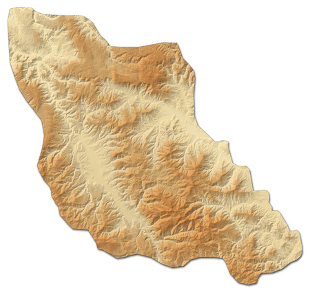 Relief map of Central Bosnia, a province of Bosnia and Herzegovina, with shaded relief.