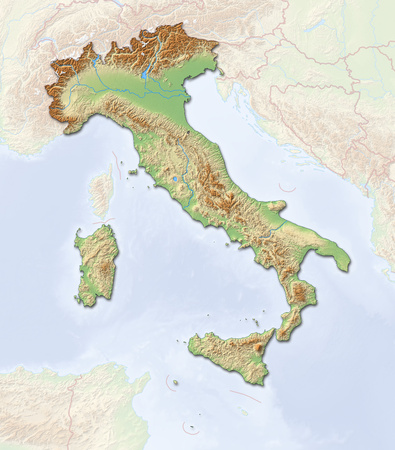 shaded: Relief map of Italy with shaded relief.