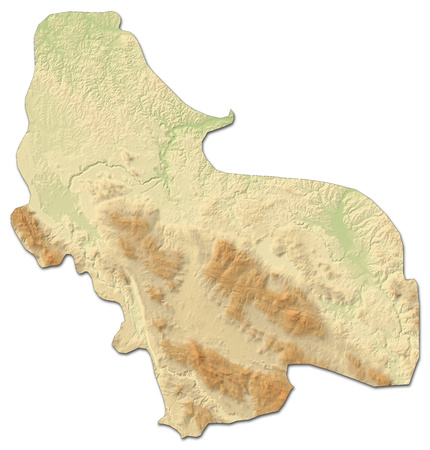Relief map of Una-Sana, a province of Bosnia and Herzegovina, with shaded relief.