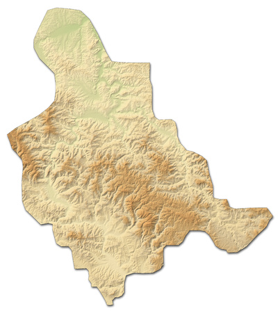 Relief map of Zenica-Doboj, a province of Bosnia and Herzegovina, with shaded relief. Stock Photo
