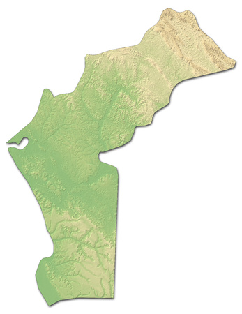 ngola: Relief map of Cabinda, a province of Angola, with shaded relief.