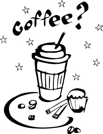 Kaffee und Kuchen Illustration Standard-Bild - 94538840