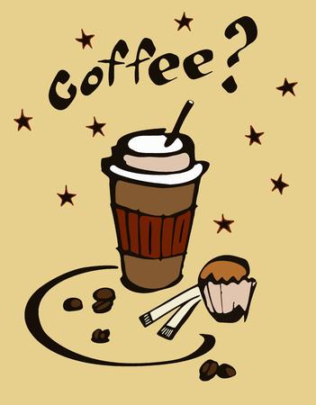 Kaffee und Kuchen Illustration Standard-Bild - 94538841