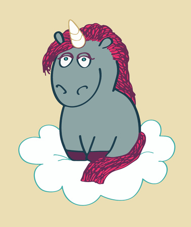Unicorn character illustration Illustration