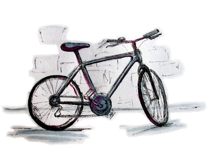 Bicycle. Line drawing colored