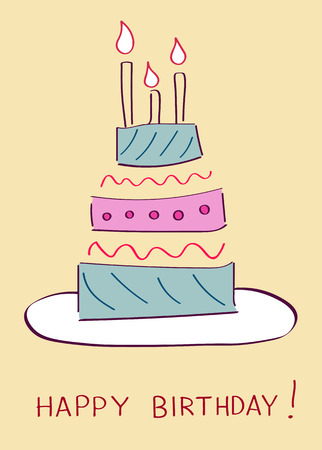 Birthday Cake On Greeting Card Template Vector Illustration Royalty