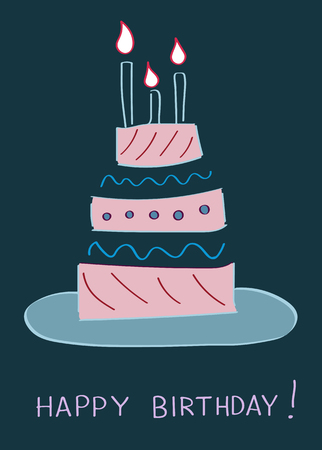 Birthday Cake Greeting Card Template Vector Illustration Royalty