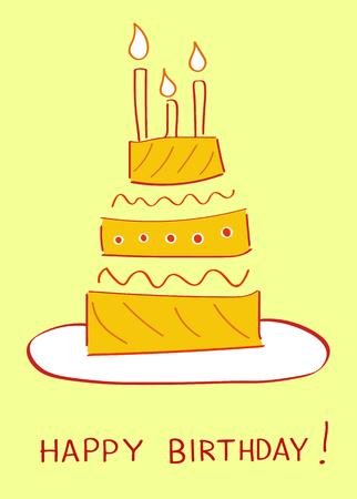 Birthday cake Greeting card design vector illustration Ilustracja