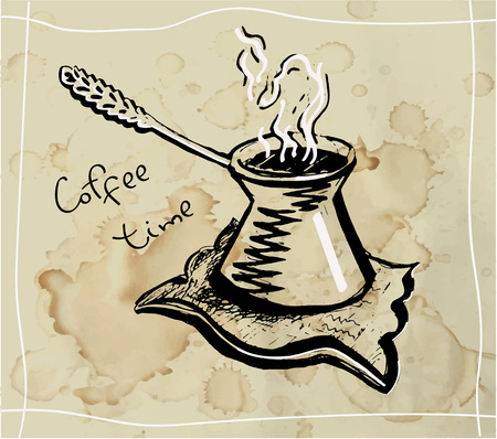 Coffee cezve. Traditional coffee serving. Line drawing on the background of coffee