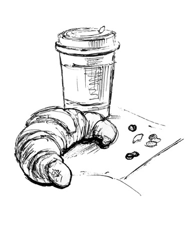 Coffee and croissant. Graphic sketch vector illustration.