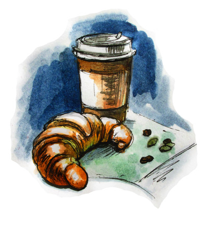Coffee and croissant. Watercolor sketch. Vector illustration 向量圖像