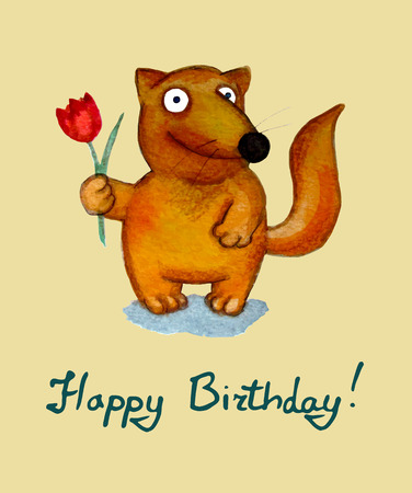 Birthday greeting card. Fox character. Vector illustration Vektorové ilustrace